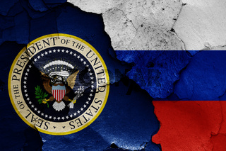flags of USA President and Russia
