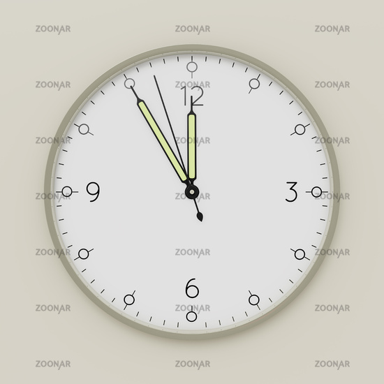 a clock shows five minutes to noon