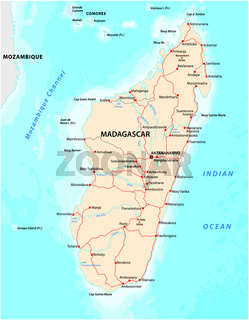 Republic of Madagascar road vector map