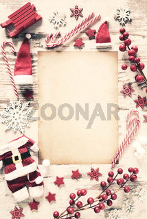 Christmas Retro Flat Lay, Vertical Paper, Copy Space, Snow