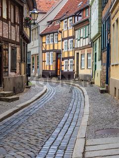 Historische Straße in Quedlinburg im Harz