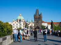 Tourists on Charles Bridge in Prague