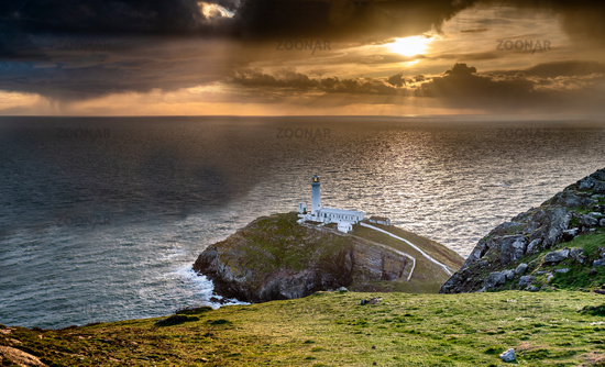 Dramatic sky above the historic South Stack Lighthouse - Isle of Anglesey North wales UK