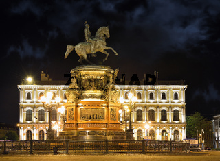Monument of Nikolay First , in Saint-Petersburg, night time