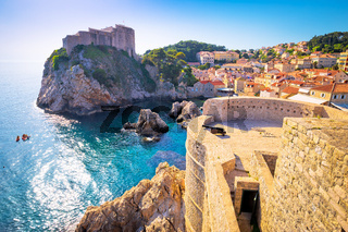 Dubrovnik bay and historic walls view