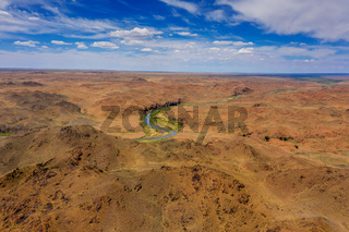 Aerial of river and mountains in Mongolia