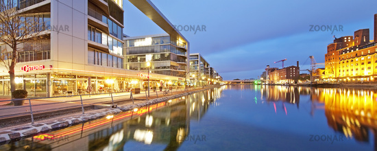 Inner harbor at twilight, Duisburg, Ruhr area, North Rhine Westphalia, Germany, Europe