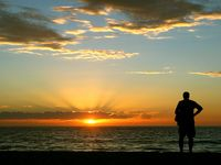 An elderly man watches a beautiful sunset at the sea. The man sits motionless with his back to the camera and admires the bright colors of the sunset.