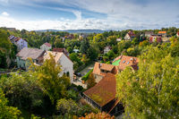 View of the Bautzen (residential building) from the height of the bridge. Germany.