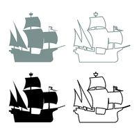 Medieval ship icon outline set grey black color