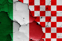 depiction of Italy and Croatian checkerboard flag