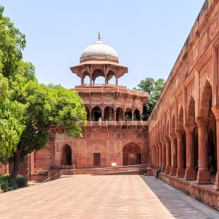 Side Building and Wall of Taj Mahal Complex with vegetation. UNESCO World Heritage in Agra, Uttar Pradesh, India
