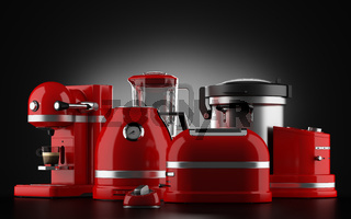 red kitchen appliances on black background