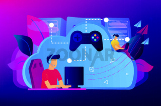 Cloud gaming concept vector illustration.