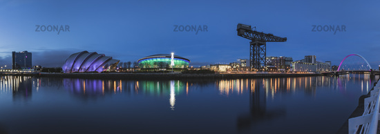 Panorama of the River Clyde including the SSE Hydro, SEC Armadillo, SEC Centre and the Arc