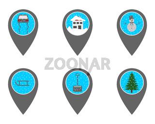 Pins mit Symbolen im Winter - Location pins with symbols in winter
