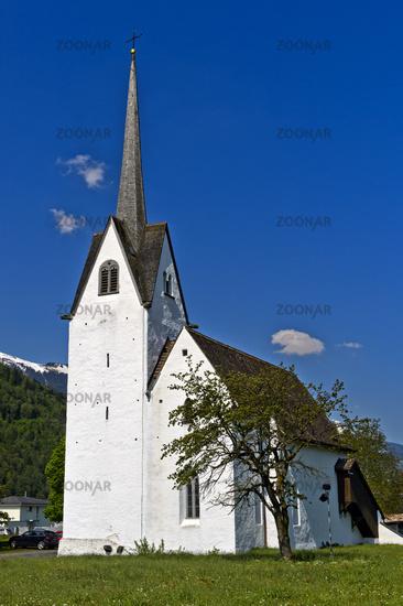 White church against blue sky, Switzerland