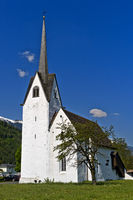 White church against blue sky, Switzerland