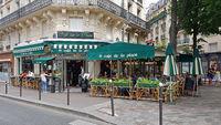 Café in Montparnasse in Paris at lunchtime
