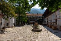 The Bachkovo Monastery of the Dormition of the Theotokos. Courtyard and monastery cells.