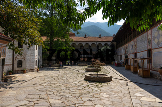 The Bachkovo Monastery of the Dormition of the Theotokos. Courtyard and monastery cells.