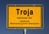 City limits sign of Troja, part of the municipality Lärz, Mecklenburg Lake District, Germany, Europe