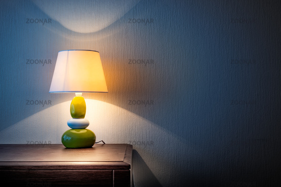 Lamp on a dresser or night table