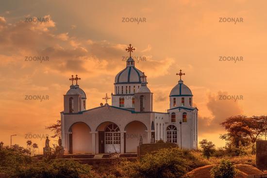 Orthodox Christian Church in sunset, Ethiopia