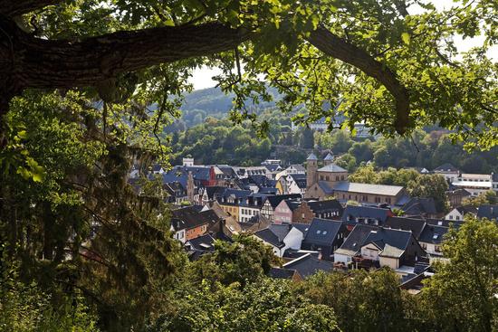 old city with abbey church, Bad Muenstereifel, Eifel, North Rhine-Westphalia, Germany, Europe