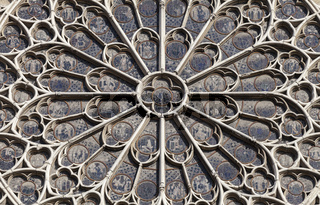 PARIS - OCTOBER 25, 2016: South rose window of Notre Dame cathedral