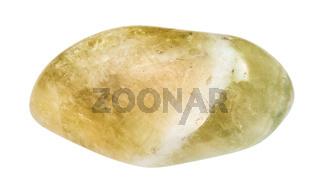 tumbled Prasiolite gemstone isolated