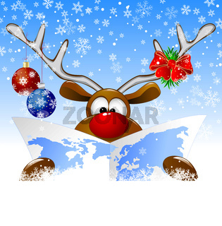 Reindeer with a world map