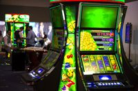 Green slot machines in casino