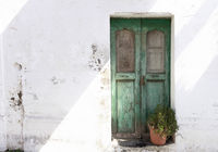 Antique green front door with plant in front of shabby chic facade