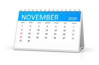 table calendar 2020 november