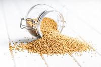 Yellow mustard seeds.