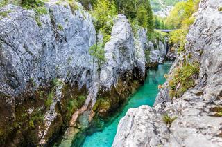 View on the Grand Canyon of Soca River. In the Triglav National Park near Bovec, Gorizia, Slovenia, Europe.