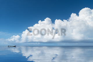 beautiful white clouds on the sea