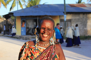Portrait of an unknown maasai woman with traditional jevellery