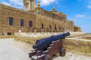 Gozo island, Malta Citadel fortified town canon.