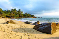 Beach on Ilhabela island one of the main tourist spots of the coast Brazil