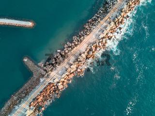 Aerial views Port Kembla Breakwall