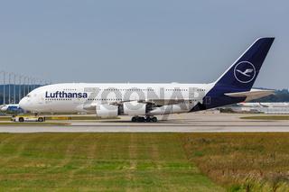 Lufthansa Airbus A380 airplane Munich airport