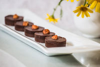 Chocolate cakes with nuts