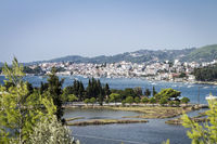 View at Town of Skiathos at Skiathos Island in Greece