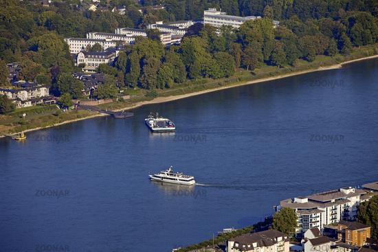 view from Drachenfels to river Rhein, Koenigswinter, North Rhine-Westphalia, Germany, Europe