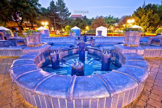 Subotica city fountain square evening view