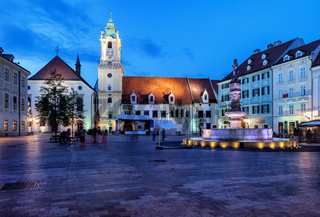 Bratislava Old Town Main Market Square at Night