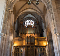 interior view of the Saint Thomas' Church in Strasbourg with the organ