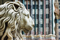 Marble lion's head